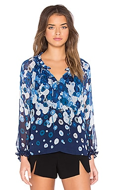 Diane von Furstenberg Wynn Top in Floating Flower Placement Midnight