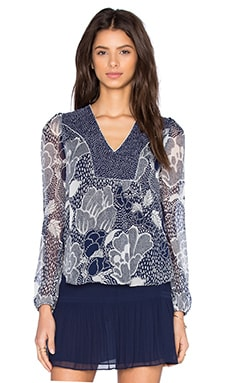 Diane von Furstenberg Maslyn Top in Dream Dot & Flower Power Midnight