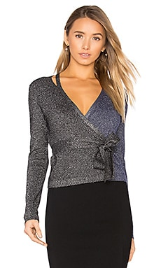 Metallic Wrap Top en Noir & Marine