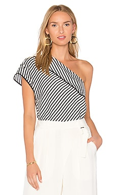 One Shoulder Top in Alsen Stripe