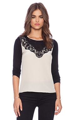 Diane von Furstenberg Lace Yoke Top in Pebble & Black