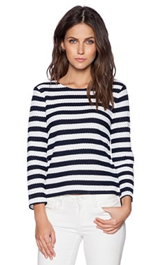 Diane von Furstenberg Giselle Top in White & Navy