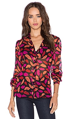 Diane von Furstenberg Mariah Top in Midnight Kiss Multi Red