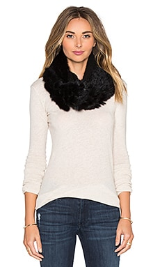 Diane von Furstenberg Dyed Rabbit Fur Cable Knit Scarf in Black