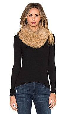 Diane von Furstenberg Rabbit Fur Cable Knit Scarf in Camel