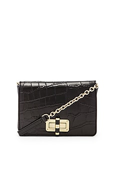 Diane von Furstenberg Gallery Bellini Embossed Croc Crossbody in Black