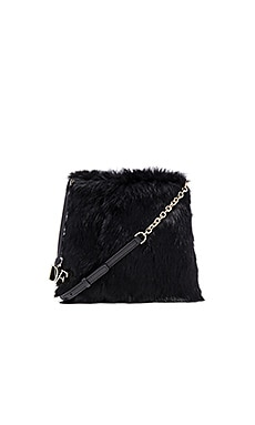 Diane von Furstenberg Voyage Fur Crossbody in Black