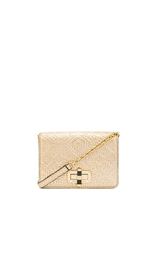 Diane von Furstenberg Gallery Bellini Basketweave Crossbody in Light Gold