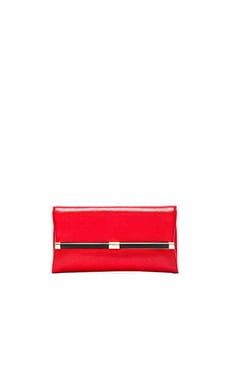 Diane von Furstenberg Embossed Lizard Envelope Clutch in Paprika