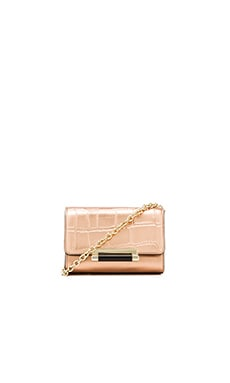 Diane von Furstenberg Croc Embossed Micro Mini Bag in Rose Gold