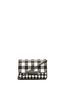 Diane von Furstenberg Micro Mini Leather Gingham Crossbody in Black & White