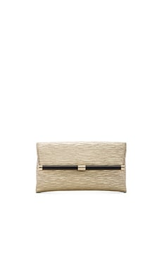 Diane von Furstenberg Metallic Twig Envelope Clutch in Gold