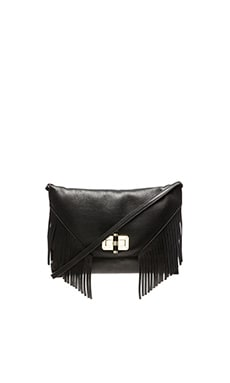 Diane von Furstenberg Gallery Fringe Crossbody in Black