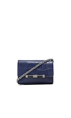 Diane von Furstenberg Embossed Croc Micro Mini Crossbody in Dark Night