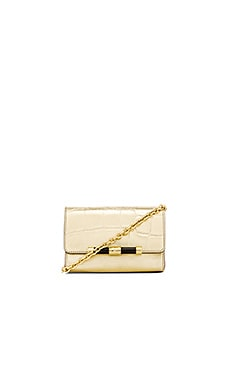 Diane von Furstenberg Metallic Croc Micro Mini Crossbody in Gold
