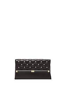 Diane von Furstenberg Leather Studded Envelope Clutch in Black