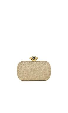 Diane von Furstenberg Evil Eye Glitter Clutch in Sand