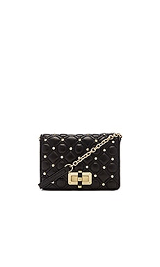 Diane von Furstenberg Quilted Leather Stud Crossbody in Black