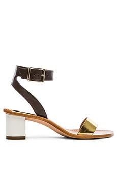 Diane von Furstenberg Cami Sandal in Gold Specchio