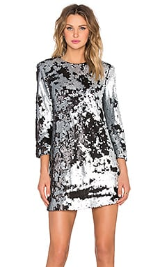 Elizabeth and James Danya Sequin Dress in Pewter & Platinum