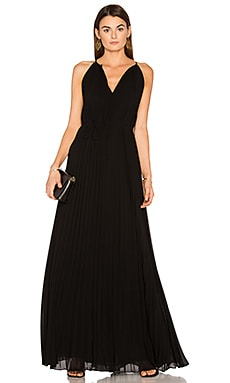 Cadence Tie Neck Pleated Gown in Black