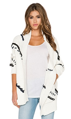 Elizabeth and James Blanket Cardigan in White & Black