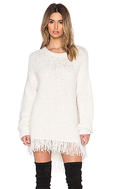 Elizabeth and James Fringe Sweater in Ivory