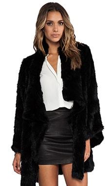 Elizabeth and James Kimono Elijah Rabbit Fur Coat in Black