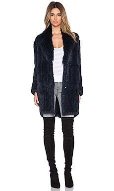 Elizabeth and James Holland Coyote and Rabbit Fur Coat in French Navy