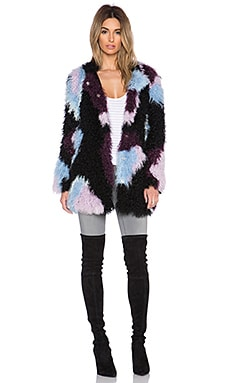 Elizabeth and James Bee Lamb Fur Jacket in Black Multi