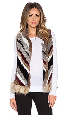 Elizabeth and James Tanya Coyote and Rabbit Fur Vest in Natural Chevron Multi