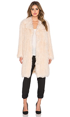 Elizabeth and James Hart Tibetan Lamb Fur Coat in Nude