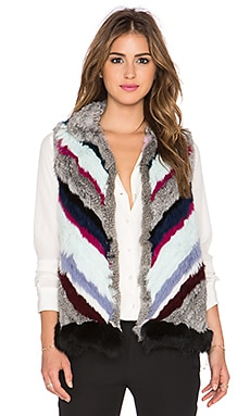 Elizabeth and James Tanya Rabbit & Coyote Fur Vest in Black Multi