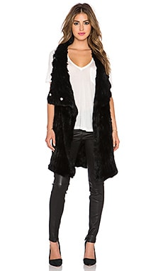 Elizabeth and James Elijah Rabbit Fur Vest in Black