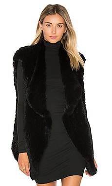 Isla Rabbit Fur Vest in Black