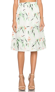 Elizabeth and James Avenue Leaf Print Skirt in White Multi