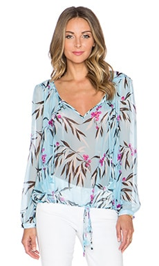 Elizabeth and James Curi Leaf Print Top in Robins Egg