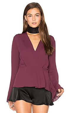 Layla Pleated Wrap Blouse in Shiraz
