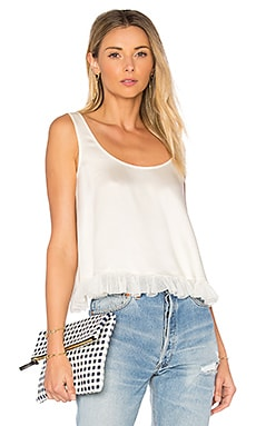 Andrea Cropped Ruffle Top in Ivory