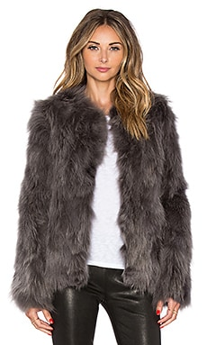 EAVES Fox Fur Helen Jacket in Grey