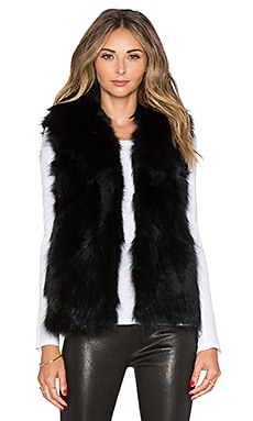 EAVES Fox Fur Joan Vest in Black