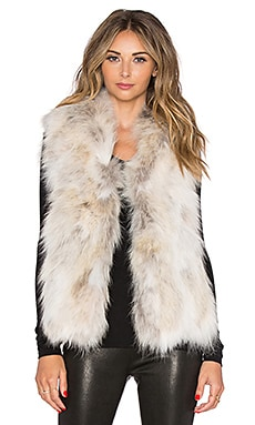 EAVES Coyote Fur Tracy Vest in Ivory