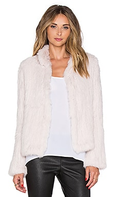 EAVES Alice Rabbit Fur Jacket in Blush