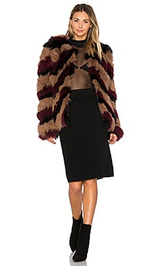 Bianca Fox Fur Jacket en Multi Nude & Burgundy