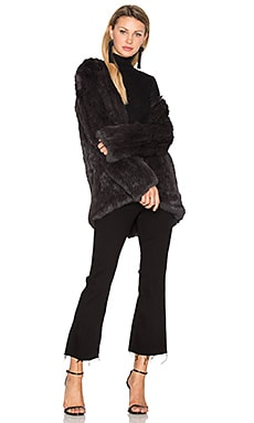 Denver Rabbit Fur Jacket in Dark Grey