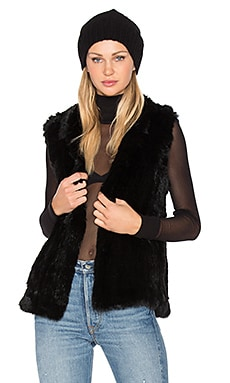 Denver Rabbit Fur Vest in Black