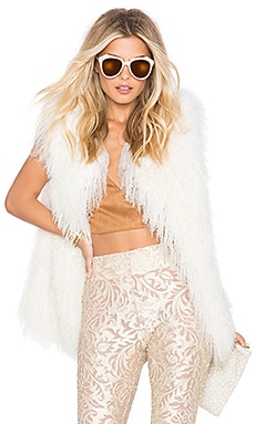 EAVES SU2C x REVOLVE Darla Lamb Fur Vest in Blush