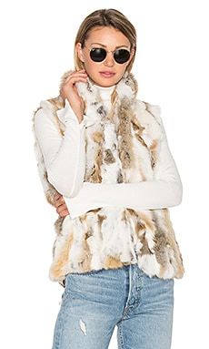 Denver Rabbit Fur Vest in Natural