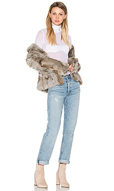 Liza Rabbit Fur Jacket in Grey