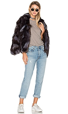 Jessa Fox Fur Jacket in Black